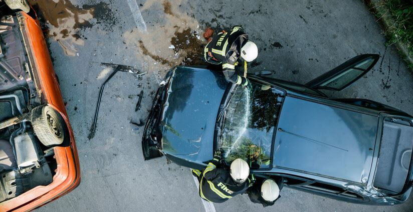 Aerial view of a car accident