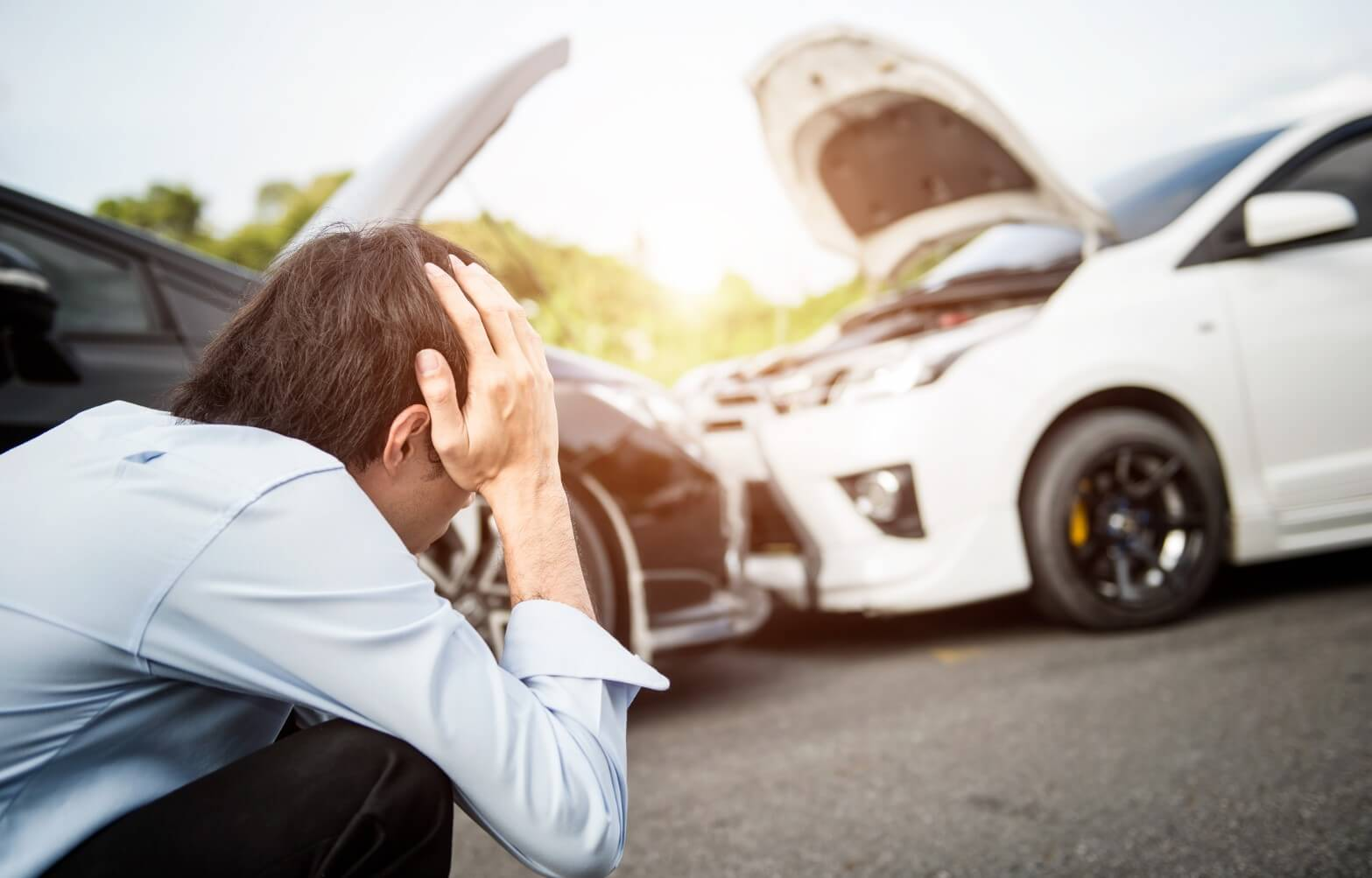 Man distraught after a car accident